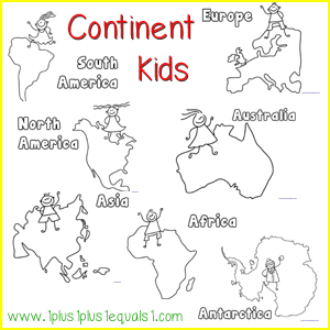 Continent boxes for Continents coloring page