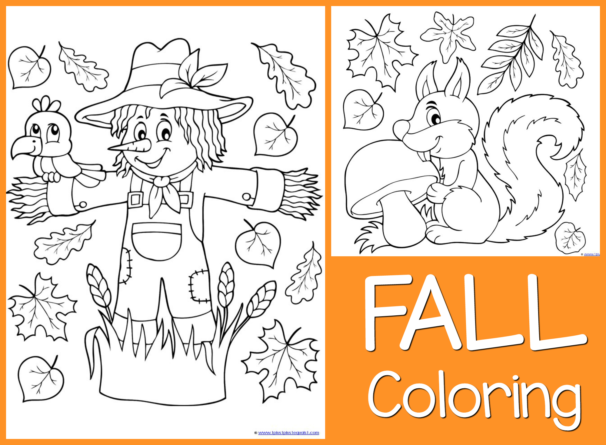 Just color free coloring printables for Fall coloring pages for toddlers