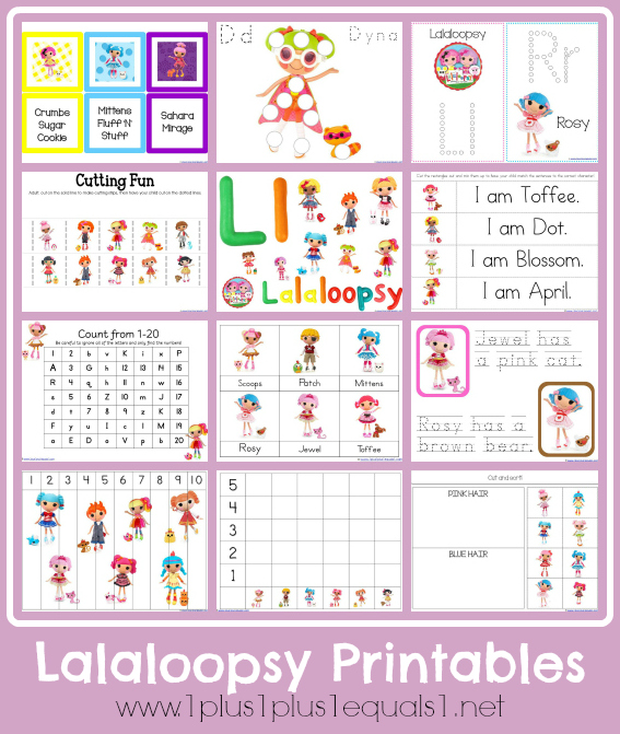Free printables for tots and preschoolers with a Lalaloopsy theme!