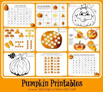 1+1+1=1...Pumpkin Preschool Pack