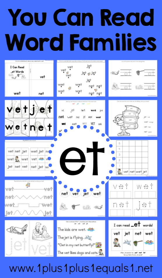 Et Word Family Printable Worksheets by The Primary Place | TpT